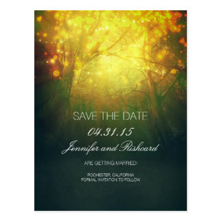 Rustic Woodland Tree Lights Save The Date Postcard