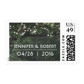rustic woodland tree lights wedding postage