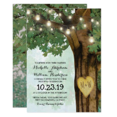 Rustic Woodland Tree Twinkle Lights Wedding Invitation