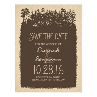 rustic woodland trees save the date postcards