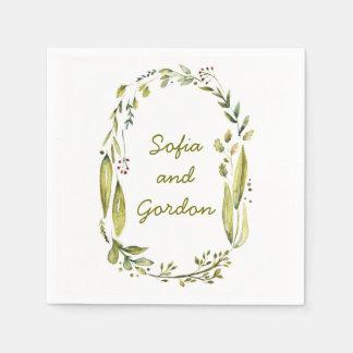 rustic woodland watercolor laurel wedding napkin