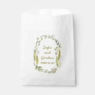 Rustic Woodland Watercolor Wreath Wedding Favor Bag
