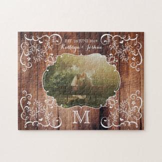 Rustic Woodland Wedding Photo Wood Panel Monogram Jigsaw Puzzle