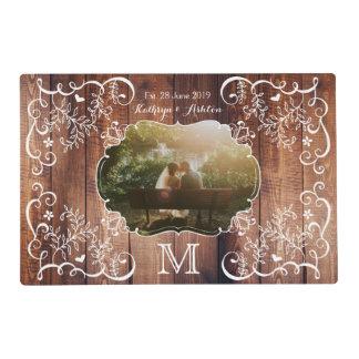 Rustic Woodland Wedding Photo Wood Panel Monogram Placemat