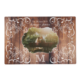 Rustic Woodland Wedding Photo Wood Panel Monogram Placemat