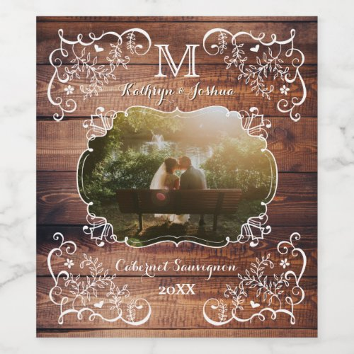 Rustic Woodland Wedding Photo Wood Panel Monogram Wine Label