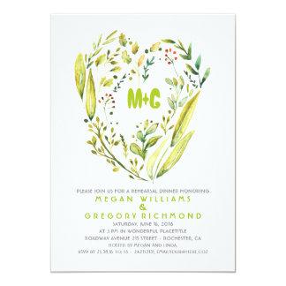 Rustic Woodland Wreath Heart Rehearsal Dinner Card
