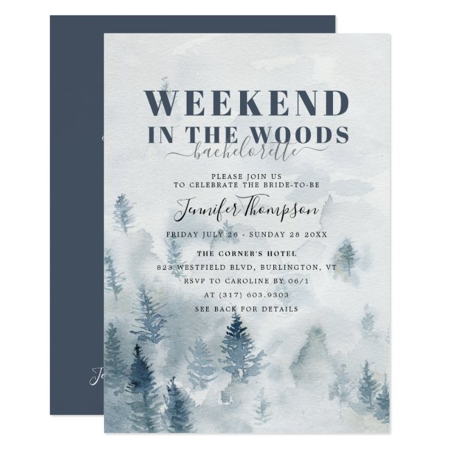 Rustic Woods Cabin Bachelorette Weekend Itinerary Invitation