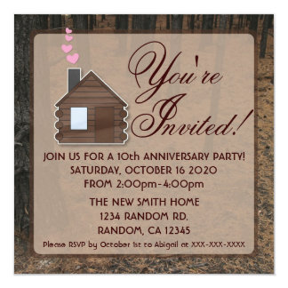 Rustic woods log cabin anniversary party invites