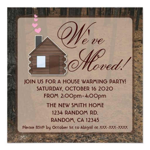 Rustic woods log cabin new home invitations