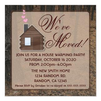 Rustic woods log cabin new home invitations
