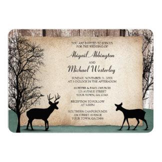 "Rustic Woodsy Deer Wedding Invitations 5"" X 7"" Invitation Card"