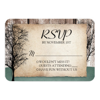 """Rustic Woodsy Deer Wedding RSVP reply cards 3.5"""" X 5"""" Invitation Card"""