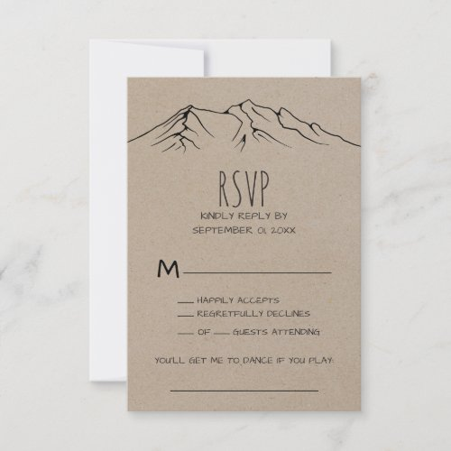 Rustic Woodsy Mountain Song Request RSVP Card
