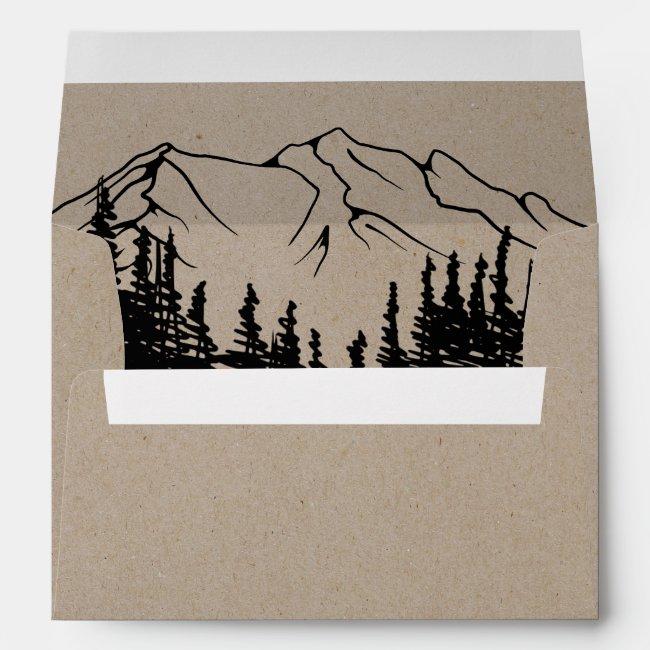 Rustic Woodsy Mountain Wedding Invitation Envelope