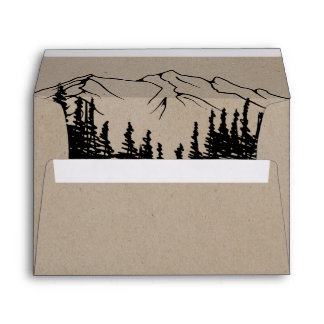 Rustic Woodsy Mountain Wedding Invitation Envelope