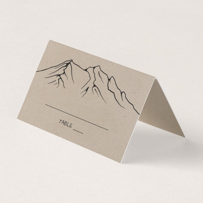 Rustic Woodsy Mountain Wedding Place Card