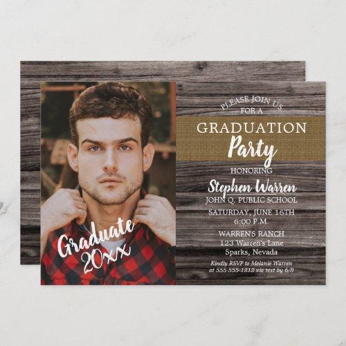 Rustic Woodsy Photo Graduation Party Invitation