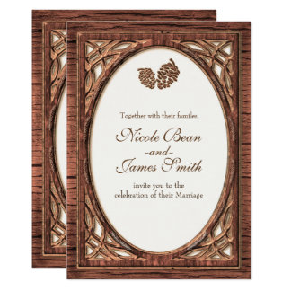 Rustic Woodsy Pine Cone Two Tone Wood Invitations