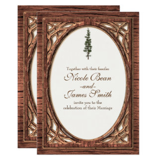 Rustic Woodsy Pine Tree Two Tone Wood Invitations