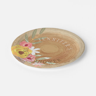 Rustic Woodsy Watercolor Floral Bridal Shower Paper Plate