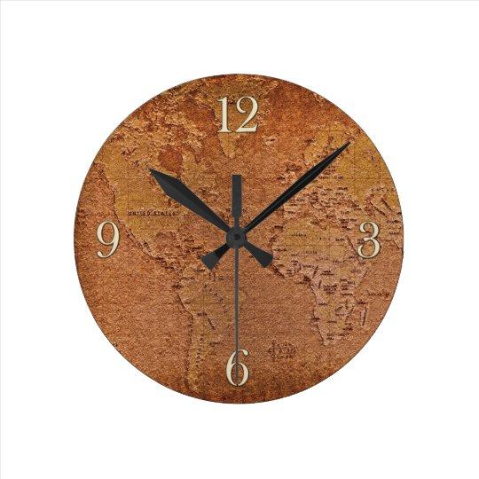 Rustic World Map Grunge Art Designer Clock