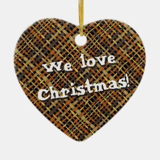 Rustic Woven Graphical Natural Burlap any Text Ceramic Ornament