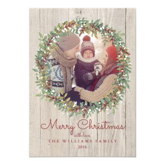 Rustic Wreath Christmas Photo Card