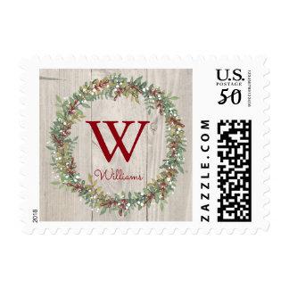 Rustic Wreath Christmas Stamp