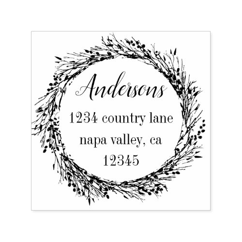 Rustic Wreath  Family Name Return Address Self_inking Stamp