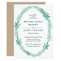 Rustic Wreath Greenery Wedding Invitation