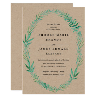 Rustic Wood Wedding Invitation Wreath Greenery