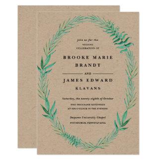 Nice Rustic Wreath Greenery Wedding Invitation