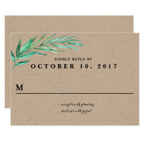 Rustic Wreath Greenery Wedding Reply Card