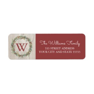 Rustic Wreath Monogrammed Return Address Label