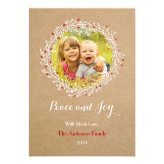 Rustic Wreath Peace and Joy Holiday Card Groupon