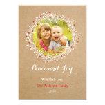 Rustic Wreath Peace and Joy Holiday Card Groupon Custom Invitations