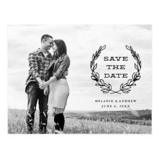 Rustic wreath | Photo save the date Postcard