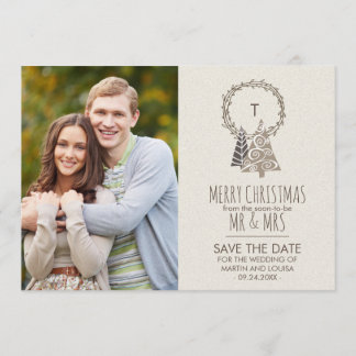 Rustic Wreath Save the Date Christmas Photo