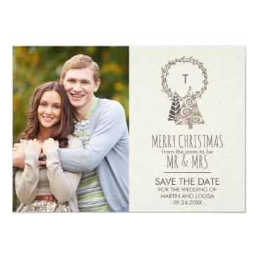 Beach Themed Rustic Wreath Save the Date Christmas Photo Card