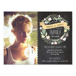 Rustic Wreath Sweet 16 Chalkboard Photo Birthday Card