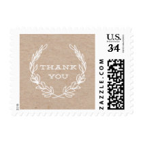 Rustic wreath | Thank you postage stamp