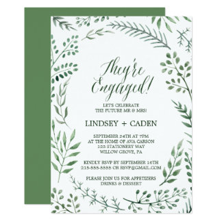 Rustic Wreath with Green Leaves Engagement Party Card