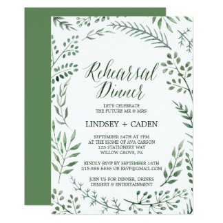 Rustic Wreath with Green Leaves Rehearsal Dinner Card