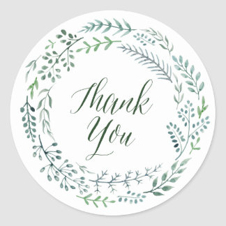 Rustic Wreath with Green Leaves Thank You Classic Round Sticker