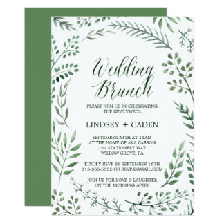Rustic Wreath with Green Leaves Wedding Brunch Invitation