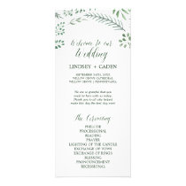 Rustic Wreath with Green Leaves Wedding Program