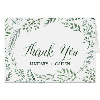 Rustic Wreath with Green Leaves Wedding Thank You Card