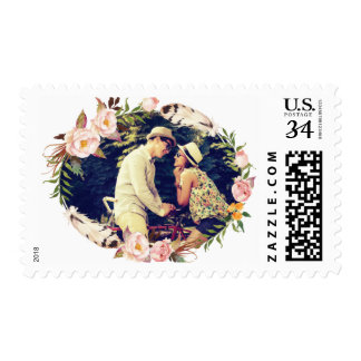 Rustic Wreath with Photo Postage Stamp