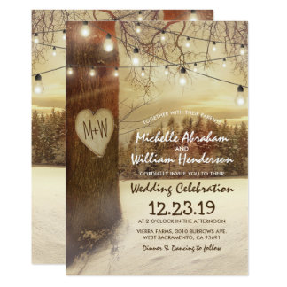 Rustic Xmas Winter Tree Twinkle Lights Wedding Card